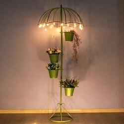 Balkon decor plant stand paraplu ijzer bloem rack floor succulente planter indoor plant stand metalen tuin decors metalen plank