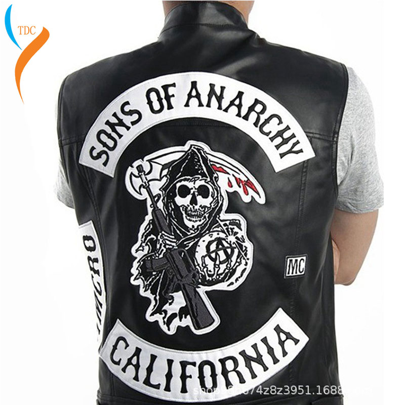 2019 New Fashion Sons Of Anarchy Embroidery Leather Rock Punk Vest Cosplay Costume Black Color Motorcycle Sleeveless Jacket