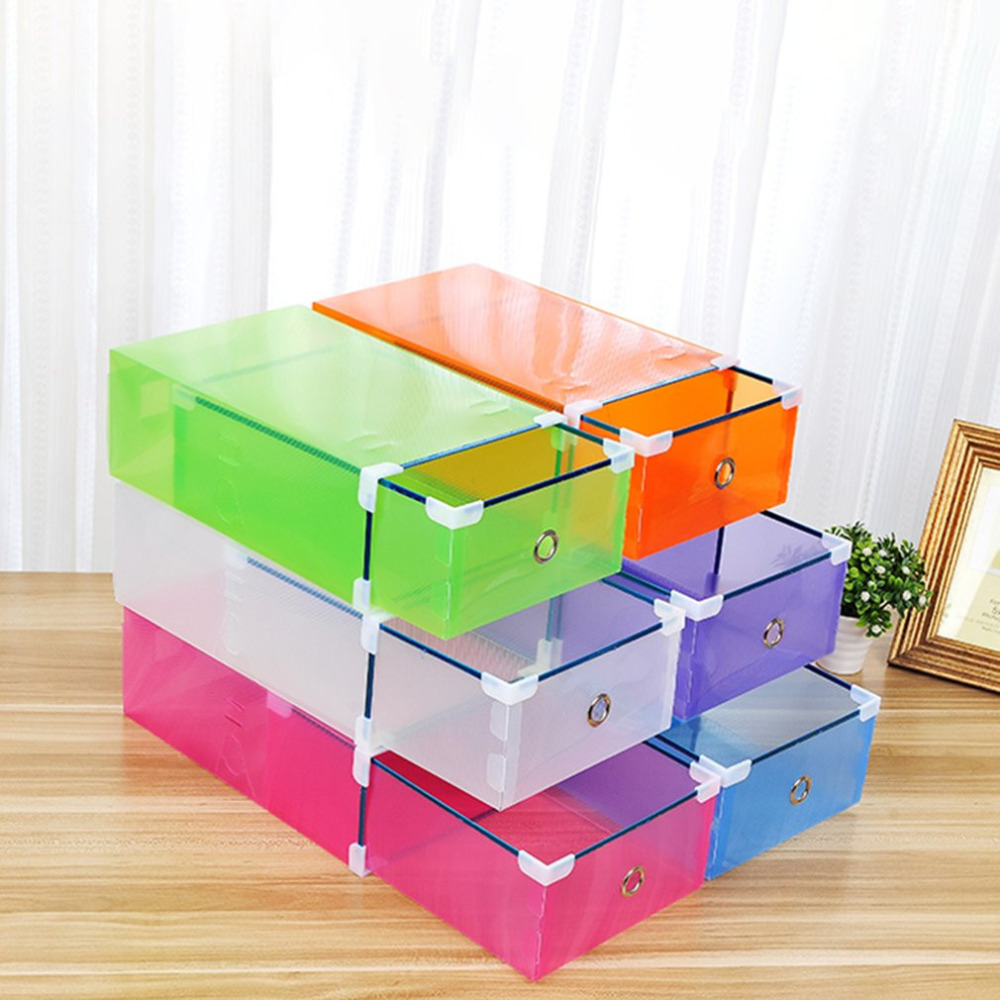 Case Organizer Shoe-Box Stackable Drawer-Type Save-Space Candy-Color Plastic title=