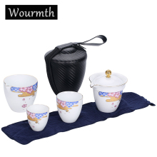 5 Pcs/ set Portable Tea Set White Porcelain Quick Cups With Easy Teapot China Kungfu Filter Gaiwan Drinkware Gift