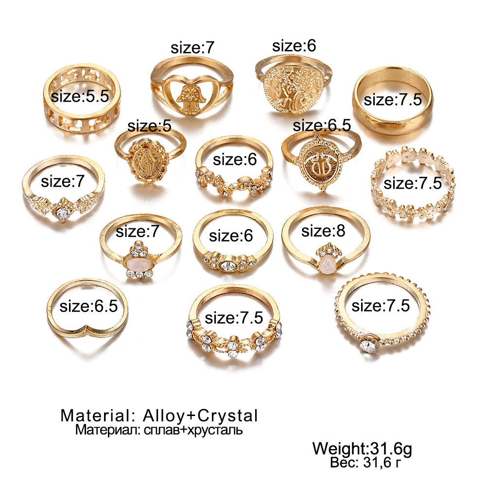 9 Design Boho Vintage Gold Star Midi Moon Rings Set For Women Opal Crystal Midi Finger Ring 2019 Female Bohemian Jewelry Gifts 2