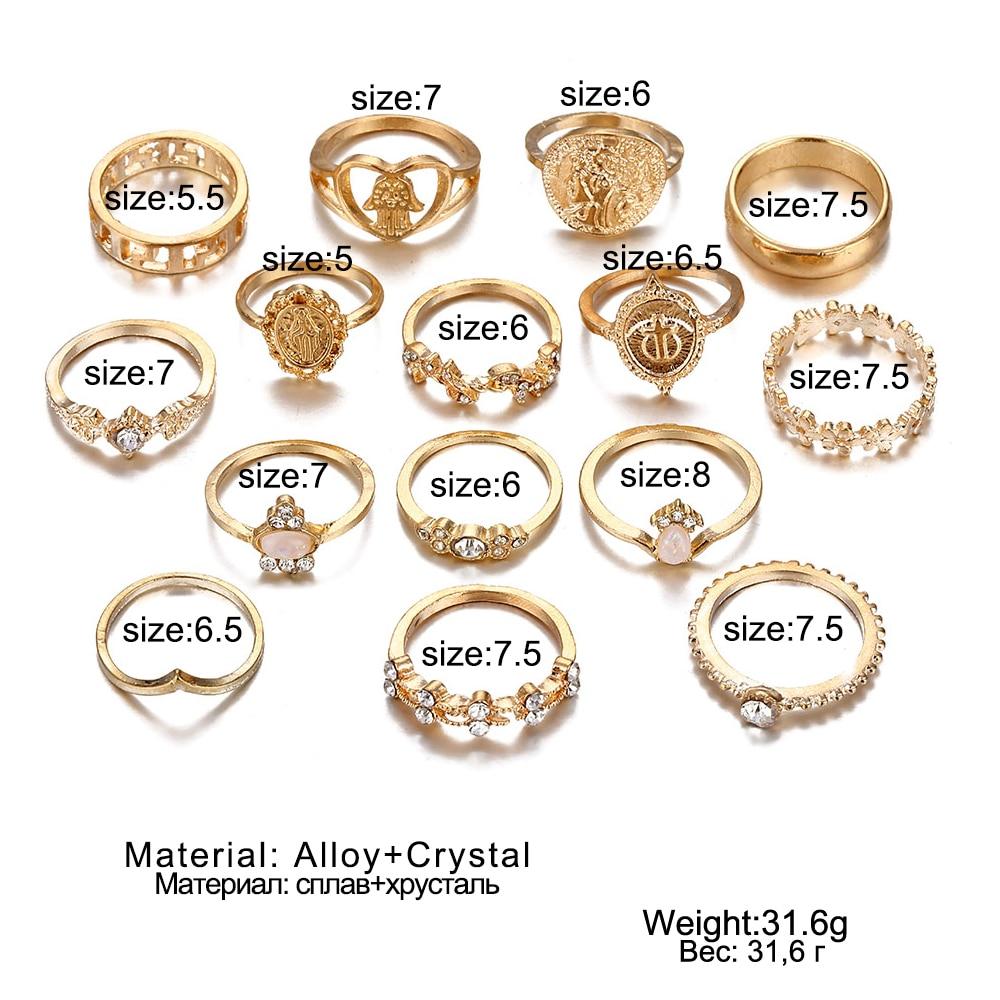 Женский винтажный набор колец с опалом и кристаллами средней длины, 9 дизайнерских золотых звездочек, 2019 3