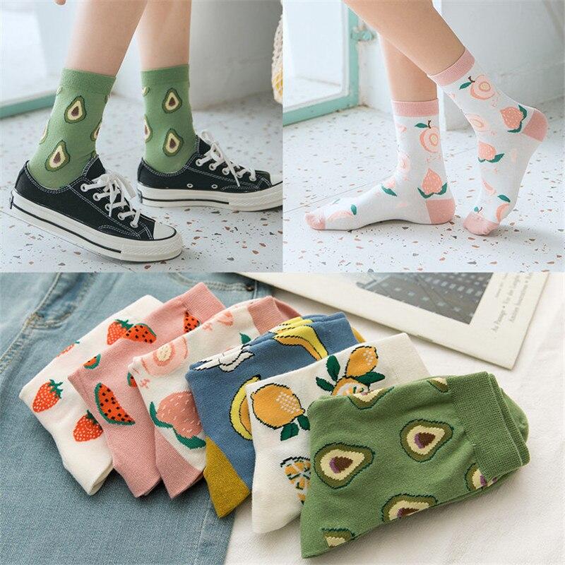 Корейские носки с фруктами в стиле Харадзюку, носки с забавными бананами, персиками, авокадо, женские носки без пятки для девочек|Носки|   | АлиЭкспресс