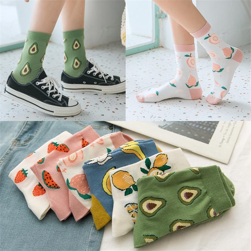 Korean Fresh Harajuku Fruits Socks Funny Banana Peach Avocado Socks Gardenias Calcetines Mujer Girl Female Kawaii Tube Socks