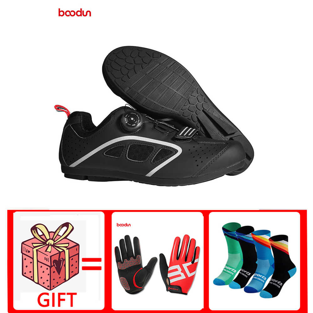 Boodun new No-lock Rotating Buckle bike Shoes Road bike MTB bicycle no lock-free shoes cycling shoes slip Rubber Sole