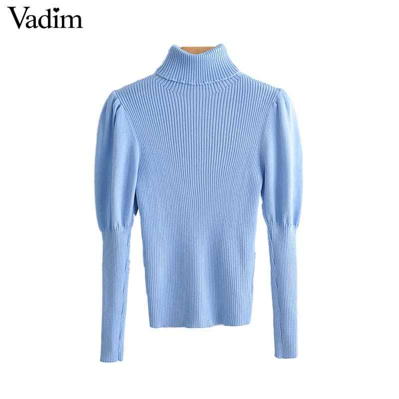 Vadim women elegant solid knitted turtleneck sweater stretchy long puff sleeve blue black pullovers female casual tops HA415