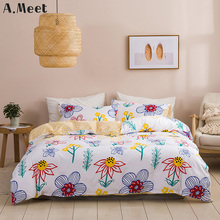Цветок одеяло постельные принадлежности комплект покрывало одеяло одеяло розовый подсолнечника синий желтый постельное белье Королева Утешитель не окрашенный девочек�короля