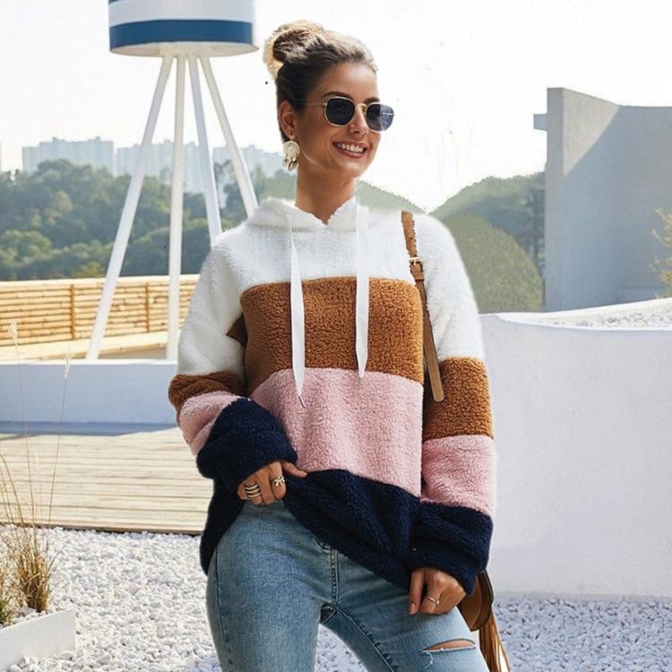 Fax fur hoodies Женская толстовка с капюшоном в полоску длинным