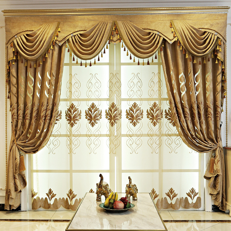European Jacquard Chenille Shade Curtains for Living Dining Room Bedroom.(China)