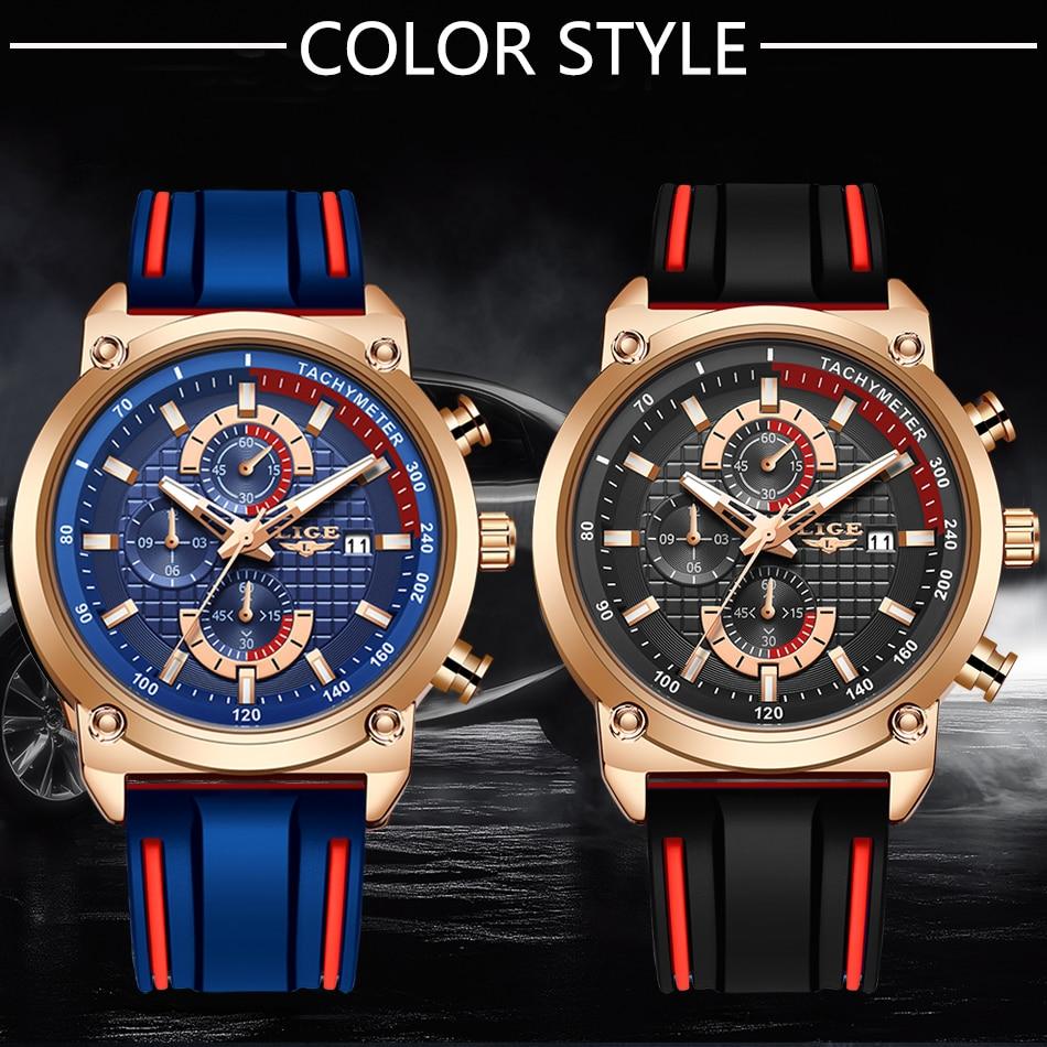 H8222b5ebdf86456799c52aa820794e103 New Top Fashion Chronograph Quartz Men Watches LIGE Silicone Strap Date Wristwatch Clock Male Luminous Watch Relogio Masculino