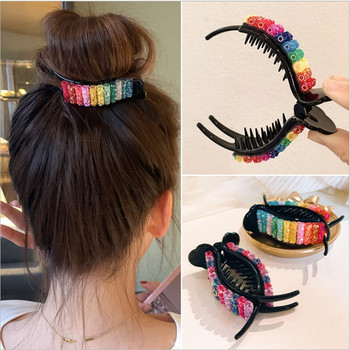 New Colorful Rainbow Hair Claws For Women Girls Hair Holder Clip Sweet Headband Hair Style Make Hairpin Fashion Hair Accessories handmade fashion jewelry claws natural stone hair jewelry metal hair clip for women girls vintage chinese style accessories hai