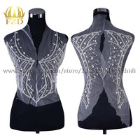 FZD 1 Set Elegant Crystal Stone Bodice Patches and Rhinestone stripes for clothes with Gauze for Wedding Dress Decorative