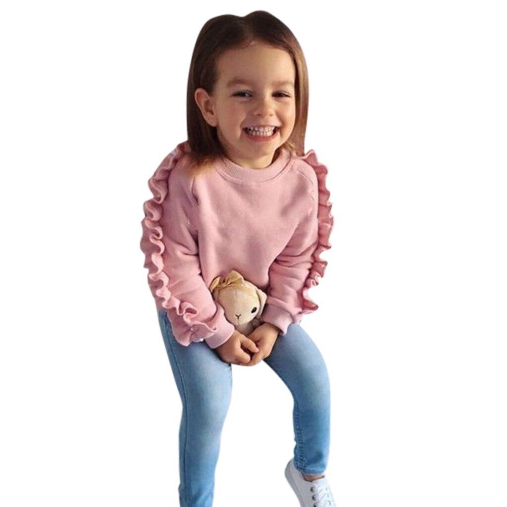>LOOZYKIT <font><b>2PCS</b></font> <font><b>Toddler</b></font> <font><b>Kids</b></font> Girls Clothes Set Baby Girls Ruffle Pink Tops Denim Pants Winter Autumn Winter Outfits Clothes Set