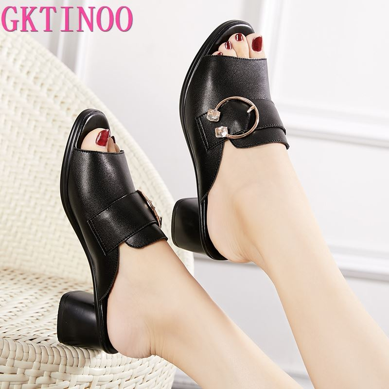 GKTINOO Women Slipper's 2020 Ladies Summer Slippers Shoes Women High Heels Fashion Rhinestone Summer Shoes Genuine Leather