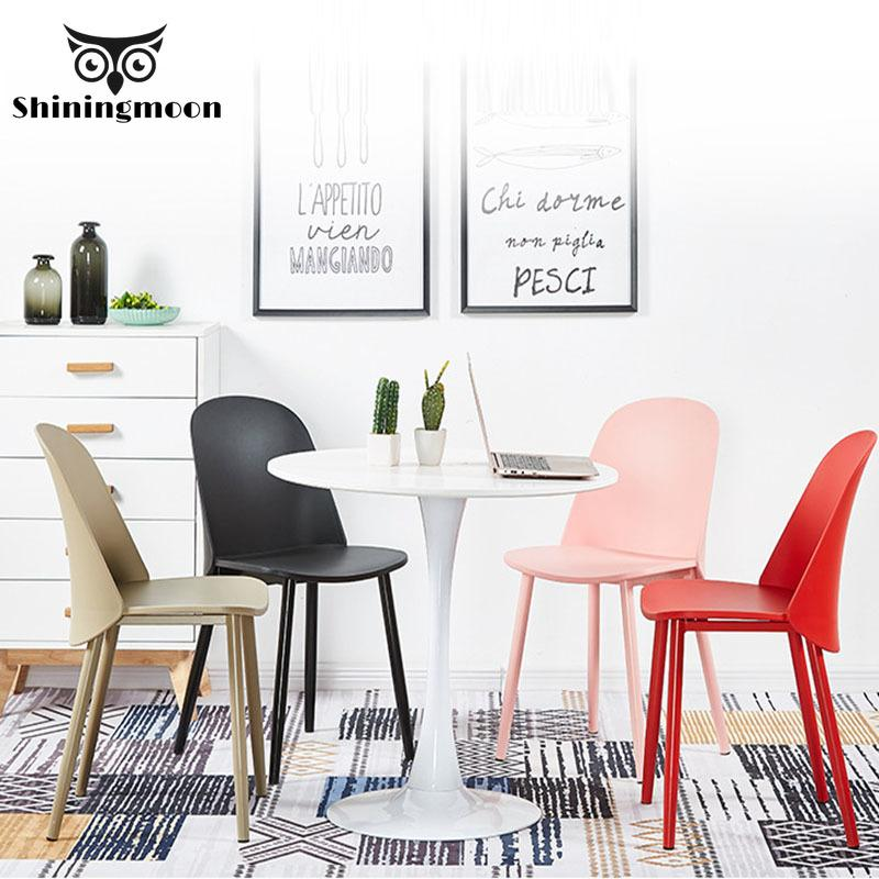 Nordic Minimalist Plastic Chair Creative Design Casual Coffee Shop Furniture Chair Bedroom Study Comfortable Back Chairs