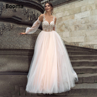 Booma Blush Pink Boho Wedding Dress 2020 Appliques Lace Tulle A Line Princess Beach Bride Gown Plus Size with Long Sleeve