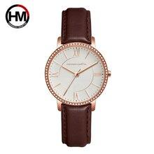 цена на Relogio Feminino Luxury Brand Watch Women's Quartz Watches Rose Gold Leather Brand Ladies Wrist Crystal Watches Waterproof Clock