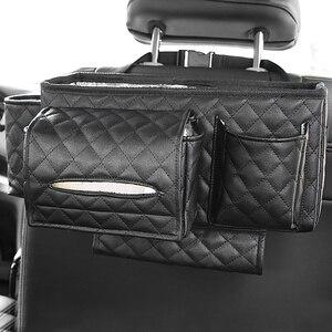 Image 4 - Car Back Seat Organizer Bag Multi Pocket Hanging Pouch Leather Storage Bag