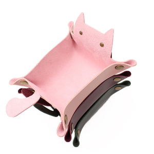 1Pc Dice Leather Tray Cat Shape Leather Storage Tray PU Coin Key Makeup Tray Folding Tray With Velvet Cat Storage Boxes Catch(China)