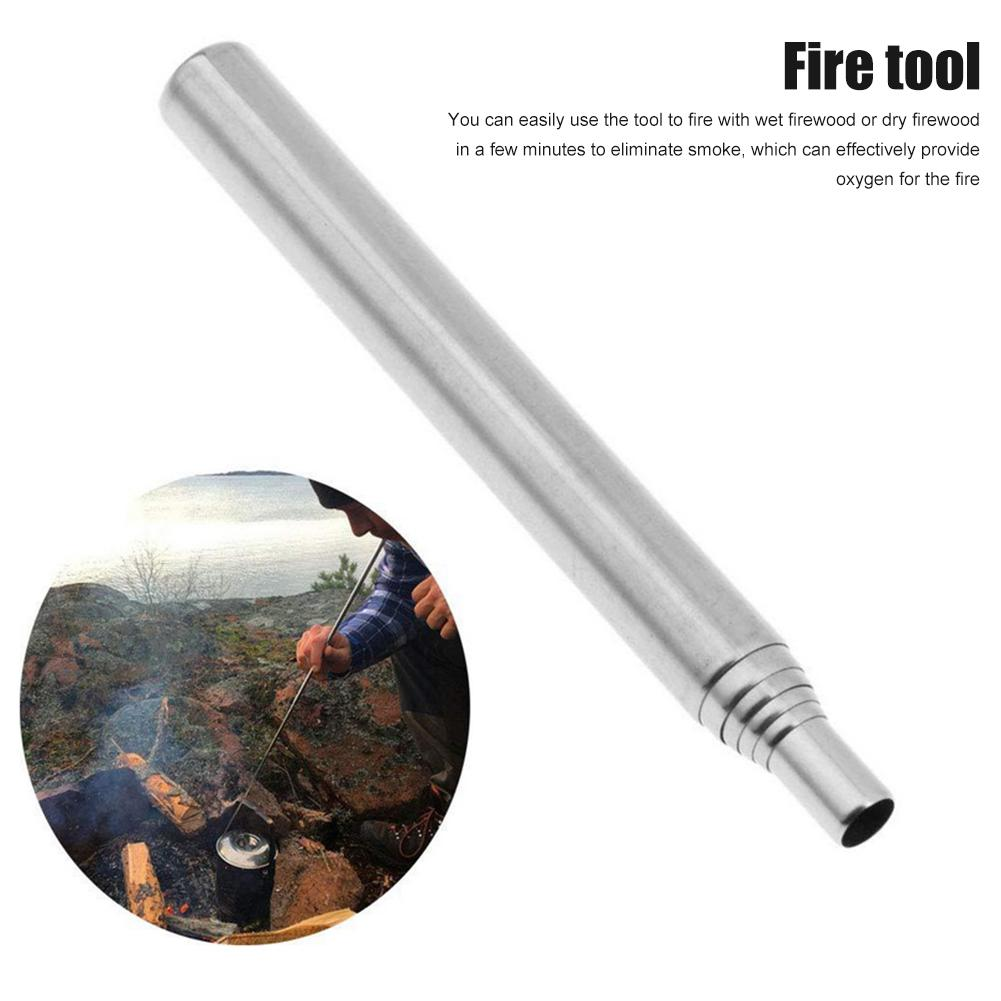 2PCS/set Outdoor Blow Fire Tube Tool Gear Fire Bellow Collapsible Stainless Steel Telescopic Blowing Fire Pipe Camping Fireplace