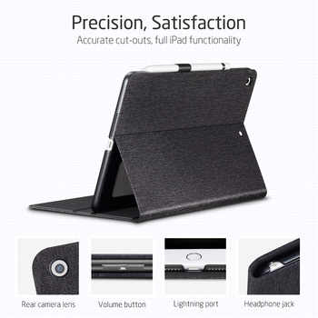 """ESR PU Leather Case for IPad 9.7 2017 2018 mini 5 7th Gen 2019 10.2\"""" Air 3 Smart Protective Pencil Holder Cover for ipad 10.2"""