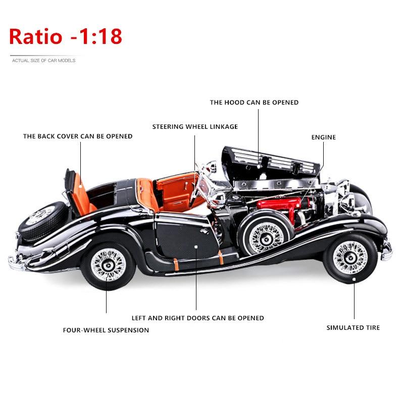 Maisto 1:18 Mercedes 500k модель автомобиля из сплава моделирование украшения автомобиля коллекция Подарочная игрушка Литье под давлением модель игр...