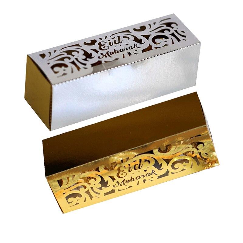 10pcs Eid Mubarak Box Ramadan Kareem Favor Gift Boxes DIY Candy Box Islamic Muslim Festival Happy Al-Fitr Eid Party Supplies