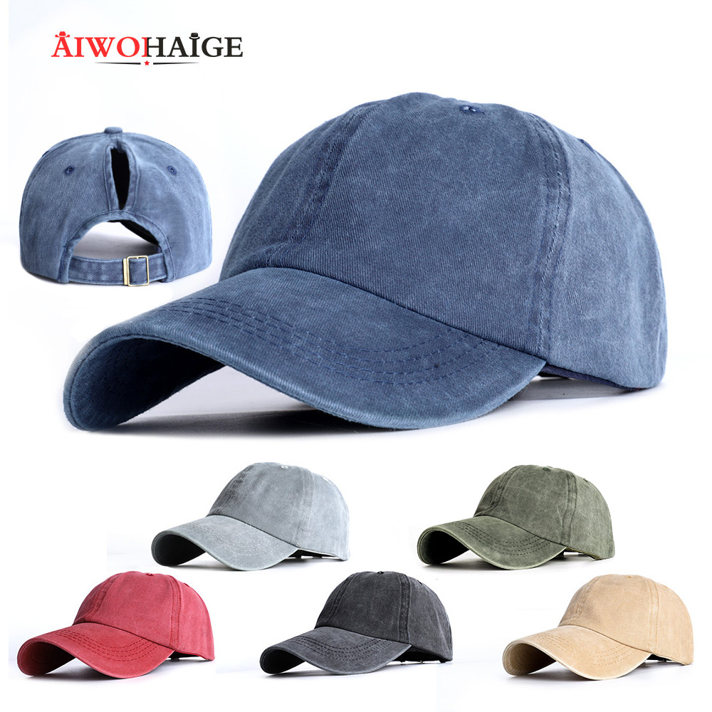 2020 New Baseball Cap Hat Snapback Cap For Women Rodeo Cap Sport Solid Hat Casual Outdoor Baseball Hat Ponytail Hat Wholesale