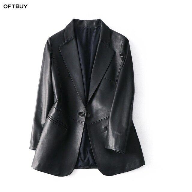 OFTBUY 2020 office ladies blazer feminino elegant blazer women blazers and jackets real sheepskin leather jacket black coat