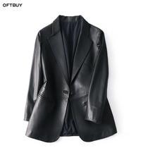 Женский офисный Блейзер OFTBUY, черный пиджак из натуральной овечьей кожи, элегантный пиджак, 2020
