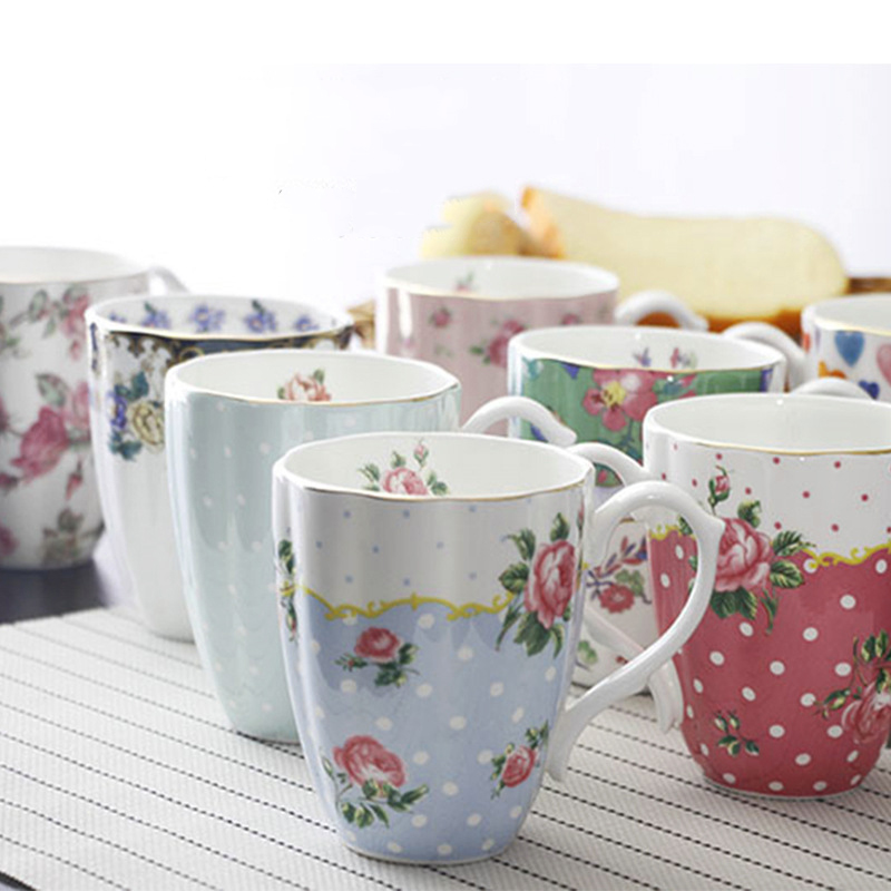 Coffee mugs breakfast cup milk cup China Ceramic cup Tea mug beer cup Household cup Cafe Bar Supplies American Style cup 420 ml