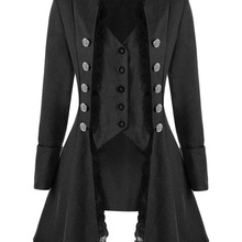 Women Coats Outwear Gothic-Style Autumn Winter Thick JIEZUOFANG Lapel Lace Solid Triple-Buttons