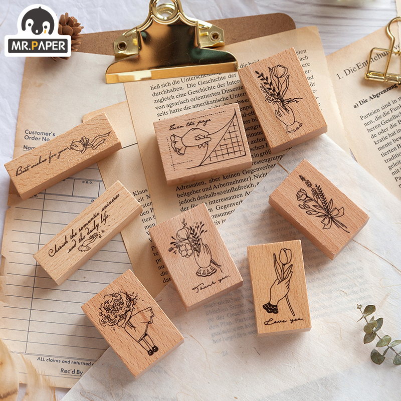 Mr.Paper 8 Designs Girl Plant Growth Wooden Rubber Stamps For Scrapbooking Decoration Planner DIY Craft Wooden Stamps Small Size