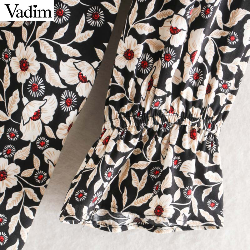Image 4 - Vadim women chic floral pattern mini dress ruffles long bell sleeve straight female causal fashion dresses vestidos QD081Dresses   -