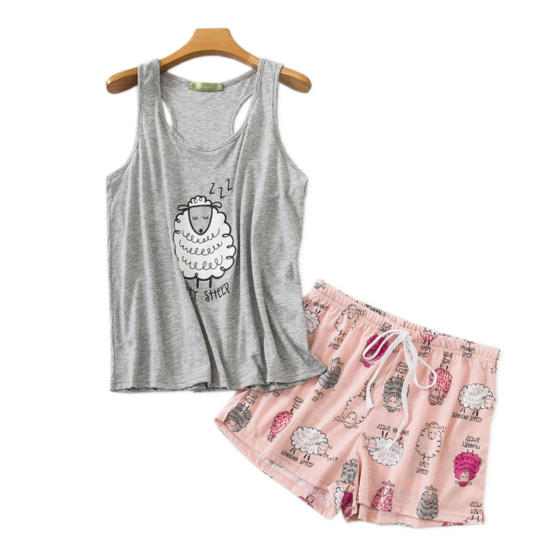 Summer cotton Sexy sleeveless shorts   pajama     sets   women sleepwear cozy O-neck short sleepwear Cute cartoon women pyjamas
