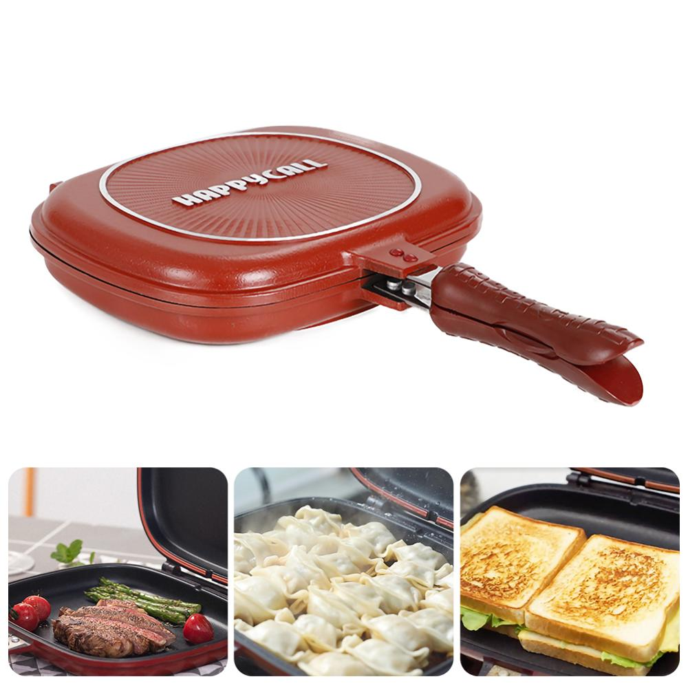 32CM/28CM Frying Pan Non-Stick Double-Sided Barbecue Cooking Tool Stable Durable And Reliable Cookware Suitable For Home Outdoor 1
