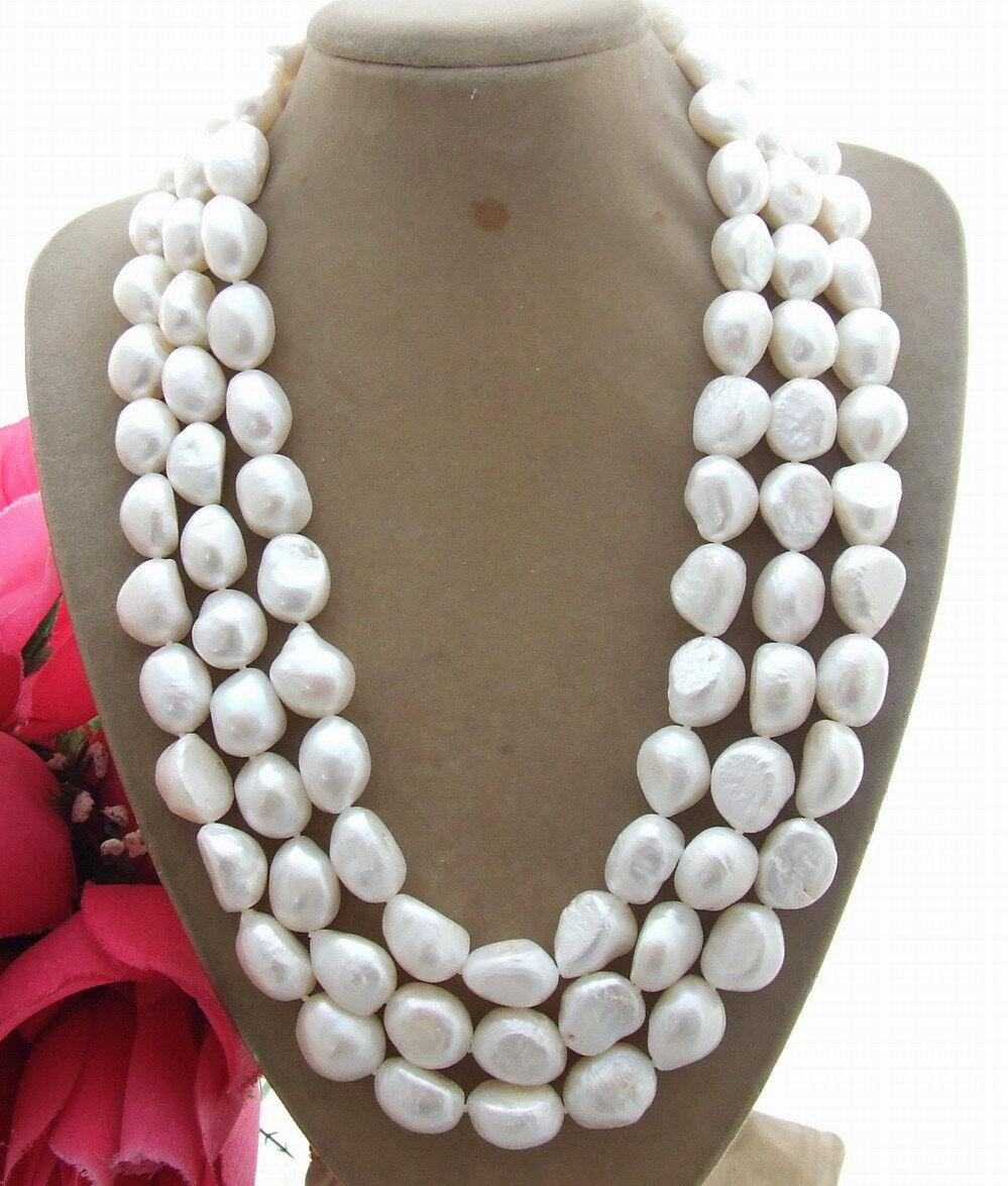 Collier de perles baroques blanches 18