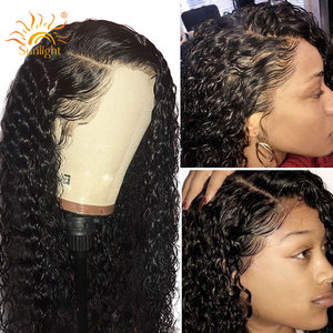 Image 2 - Su dalgası peruk 4x4 dantel kapatma peruk bebek saç ön koparıp brezilyalı 150 güneş ışığı 13x4 remy dantel ön İnsan saç peruk