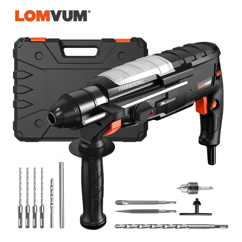 LOMVUM 800W Rotary HAMMER Multifunctional 220V AC Powerful Electric Impact Drill Household Screwdriver Powerful Tools Carry Box