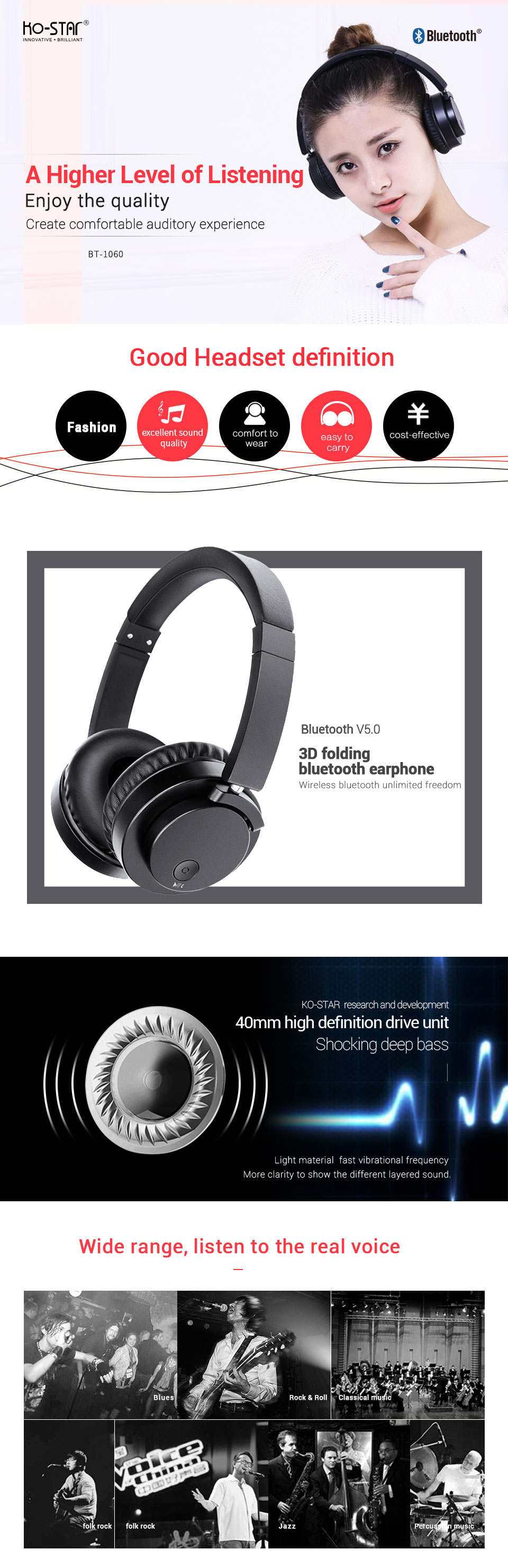Upgraded Portable Wireless Headphone Bluetooth Stereo 3D Folding Headphone Audio Mp3 Adjustable Headphone with Music Microphone