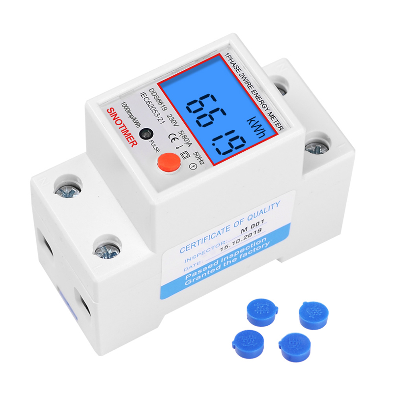 Din Rail LCD Digital Backlight Single Phase Energy Meter kWh Power Consumption Meter Wattmeter Electronic AC 220V 80A Reset Zero