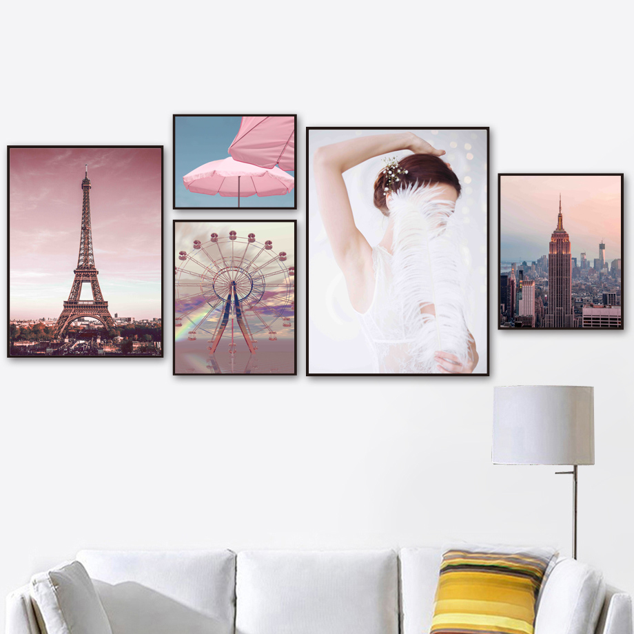Pink Empire State Building Paris Tower Wall Art Canvas Painting Nordic Posters And Prints Wall Pictures For Living Room Decor(China)