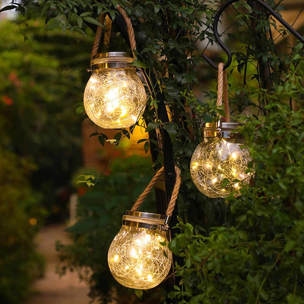 6 Pack Solar Hanging Jar Lights Outdoor Solar Christmas Lantern Cracked Glass De