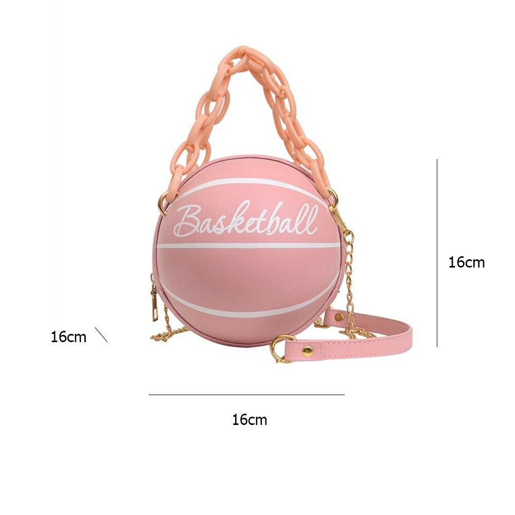 Модные баскетбольные футбольные круглые сумки через плечо для женщин, акриловые цепочки, повседневные маленькие сумки через плечо из искусственной кожи-5