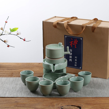 Chinese ceramic kung fu tea set include stone mill teapot and 6 teacup and automatic tea maker 1
