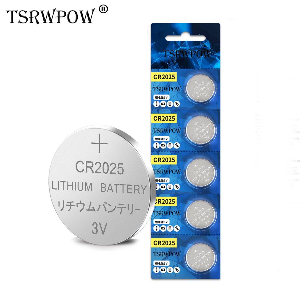 5Pcs TSRWPOW Original Brand New <font><b>Battery</b></font> <font><b>Cr2025</b></font> 3V Button Coin Lithium <font><b>Battery</b></font> For Watch Electronic Toy Remote image
