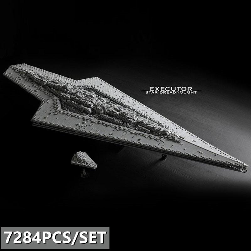 O novo Super Star Executor de Star Wars estrela Dreadnought MOC-15881 Bloqueia A Técnica de Star Wars Navio Menino Brinquedos Presentes de Natal
