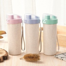 Wheat straw cup 400ml single layer with mouth flip portable strong and durable Organic wheat fiber safrty