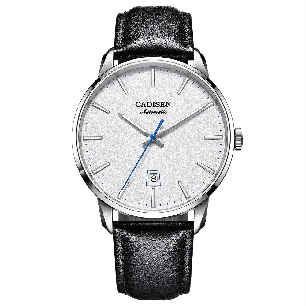 CADISEN 2020 Design Brand Luxury Men Watches Automatic White Watch Men Stainless Steel Waterproof Business Mechanical Wristwatch