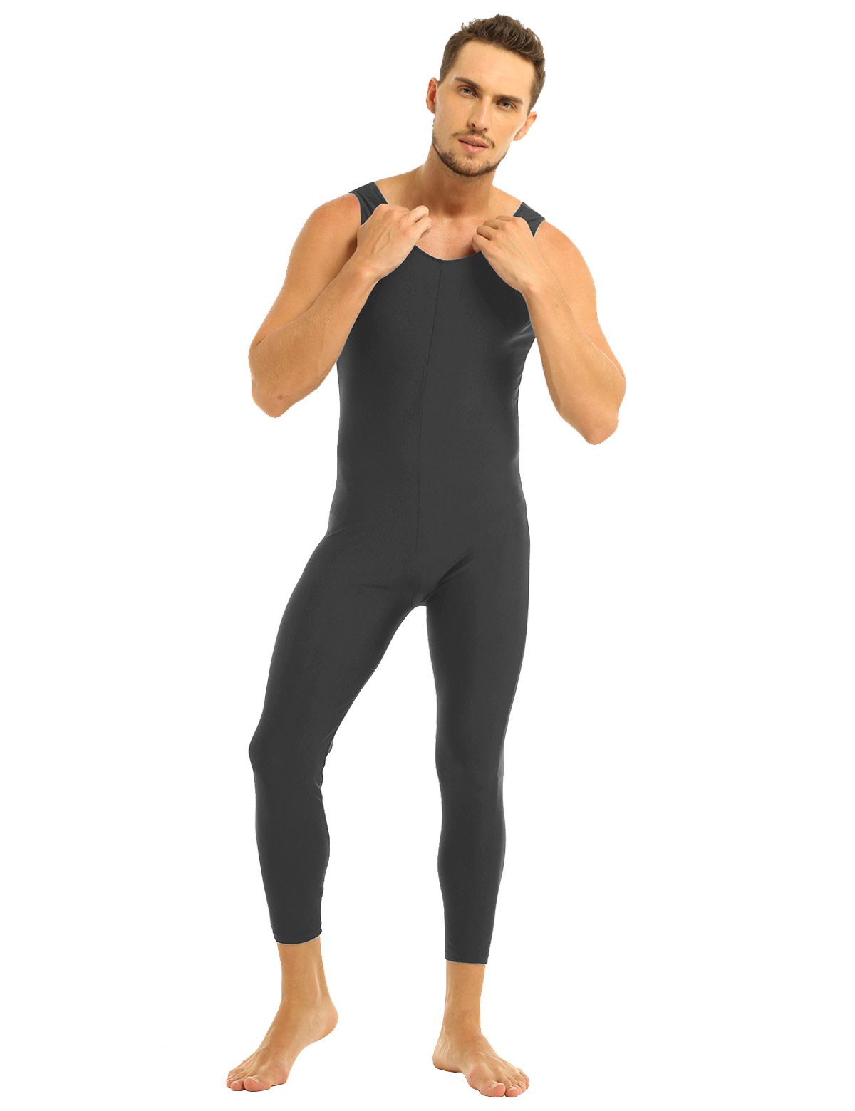 Men Sleeveless Leotard Bodysuit Lycra Tights Leggings for Ballet Dance Vest Teddy Sports Unitard Catsuit Male Dancewear Jumpsuit 17